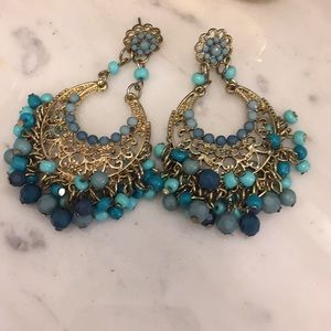 EXPRESS gold and turquoise beaded earrings